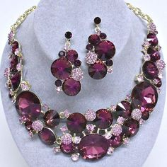 Purple Plum Lavender Crystal Rhinestone Formal Wedding Bridal Prom Party Pageant Bridesmaid Evening Chunky Round Stones Statement Necklace Earrings Set Elegant Costume Jewelry