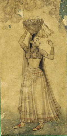 A Girl Carrying a Basket on her head early 18th century Mughal dynasty http://asia.si.edu/collections/singleObject.cfm?ObjectNumber=F1907.211