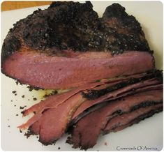 Crossroads of America: Homemade (Cheater) Pastrami. Smoked corned beef with mustard, brown sugar, ground coriander and alspice. Smoker Recipes, Beef Recipes, Smoked Corned Beef, Ground Coriander, Jewish Recipes, Cheaters, Smoking Meat, Brisket, Food Preparation