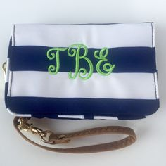Fun monogrammed wristlet at Mayfair Monogram!