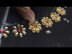 8 Petal Flower Embroidery witj Kundans and Jardosi Zardosi Embroidery, Hand Embroidery Dress, Hand Embroidery Videos, Hand Embroidery Tutorial, Embroidery Works, Flower Embroidery Designs, Indian Embroidery, Silk Ribbon Embroidery, Embroidery Jewelry