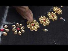 8 Petal Flower Embroidery witj Kundans and Jardosi