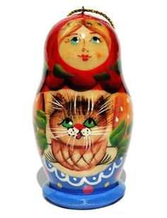 GreatRussianGifts.com  Cat Handmade Christmas Ornament In Red Shawl, http://www.greatrussiangifts.com/wood-ornaments/