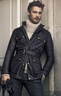 Waxed Cotton Black Trench Coat, Cream Fisherman's Turtleneck Sweater. Men's Fall/Winter Fashion.