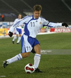 Joonas Kolkka of Finland in action during the Euro 2008 Group A qualifying match between Finland and Azerbaijan at the Olympic Stadium on November 17, 2007 in Helsinki, Finland.