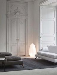 minimal, clean tall ceilings. Love the Victorian molding