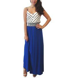 Another great find on #zulily! S.H.E. Cobalt & White Chevron Maxi Dress - Women by S.H.E. #zulilyfinds