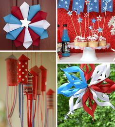 DIY decorations for the 4th of July but could totally change up the colors for different occasions :-)