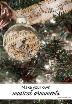 If you love music these DIY Musical Ornaments are the perfect craft project to decorate your tree with this year! Make your own with your favorite pages of sheet music and empty glass ornaments. Musical Christmas Decorations, Music Christmas Ornaments, Christmas Tree Themes, Diy Christmas Gifts, Christmas Projects, Holiday Crafts, Christmas Crafts, Xmas, Retro Christmas