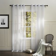 Country Elegant White Solid Eco-friendly Sheer Curtain  #sheer #sheercurtain #custommade #curtains #homedecor