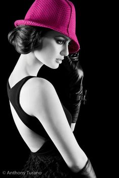 beautiful bw shot love the pop of color in the hat