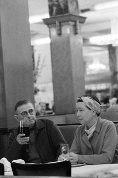 Jean-Paul Sartre and Simone de Beauvoir  La Coupole  Paris 1969  Bruno Barbey