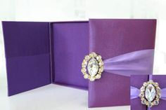 Silk & Crystal Wedding Invitation Box ANY COLOR Available