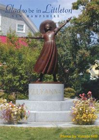 Littleton's (Littleton,  N.H.) jubilant bronze sculpture tributes hometown author, Eleanor H. Porter (1868 – 1920) best remembered as the creator of the world's most optimistic character, Pollyanna, 1913.  - Sculptor: Emile Birch