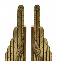 A Pair Of Art Deco Wood And Cast Metal Bookends, Height