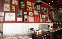 9 quán cafe nền gạch hoa cực nghệ ở Sài Gòn mà bạn nên ghé qua... chụp hình - Ảnh 21. Parrot Flying, Outdoor Cafe, Coffee Shop Design, Cafe Restaurant, Gallery Wall, Interior, Frame, Home Decor, Blue Prints