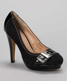 Look what I found on #zulily! Black Buckle Pump by Nichole Simpson #zulilyfinds