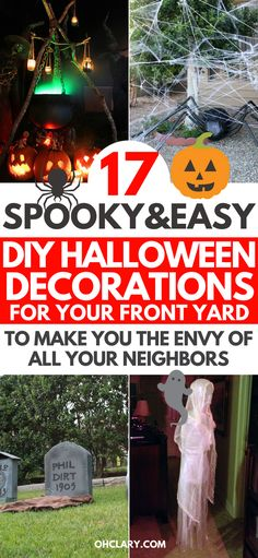 Are you wanting to make your front yard look like a graveyard for Halloween? Try these DIY outdoor Halloween decorations to make easy and scary crafts. Using cheap dollar store supplies you can transform your home into an awesome haunted house. Scariest Halloween Decorations Ever, Cheap Halloween Decorations, Diy Outdoor Halloween Decorations, Dollar Store Halloween, Halloween Kostüm, Halloween Makeup, Halloween Costumes, Halloween Desserts, Diy Halloween Haunted House