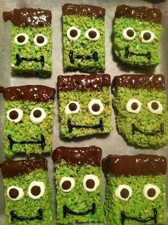 Halloween treats. Frankenstien  rice krispy treats