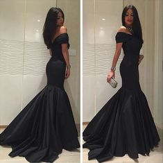 Black Prom Dress,Mermaid Evening Dress,Off Shoulder Party Dress,Sexy Prom Gowns,Mermaid Black Formal Dress,Black Graduation Dress by DestinyDress, $157.39 USD