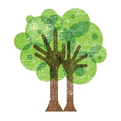 Brilliant Brown & Green Tree Logo with hand like trunk and branches. This type of logo would be great for a holistic service or care home as the hands symbolize 'caring hands' and growth of the leaves.