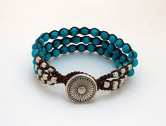 Macrame Bracelet, Turquoise and Metal Beads, Western Jewelry, Boho Chic, Beaded Macrame Bracelet
