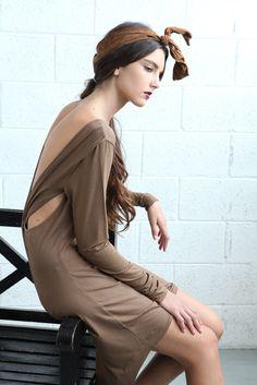 August Sale Open Back Women Dress  Brown by naftul on Etsy, $55.00