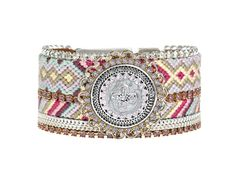 Pastel coloured mandala friendship bracelet cuff - statement jewelry - pastel jewelry - hippie bracelet - bohemian gypsy style
