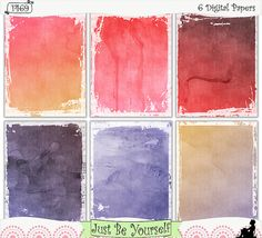 """Purple and Coral Watercolor Instant Download by JustBYourself.  Layers of purple and coral watercolor are featured on these digital printable art journal papers. Instant download collection of 6 - 8.5"""" x 11"""" papers. (1469) $2.50"""
