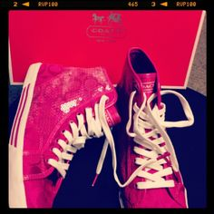 My new pink coach shoes I got for Xmas this year. 2013.