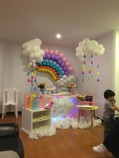 Ideas For Baby Shower Decoracion Arcoiris Spongebob Birthday Party, 1st Birthday Party For Girls, Unicorn Themed Birthday Party, Rainbow Birthday Party, Birthday Balloons, Birthday Party Themes, Rainbow Parties, Rainbow Theme, Rainbow Baby