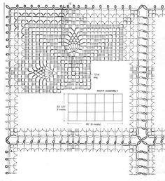 Скатерть из квадратных мотивов крючком схема