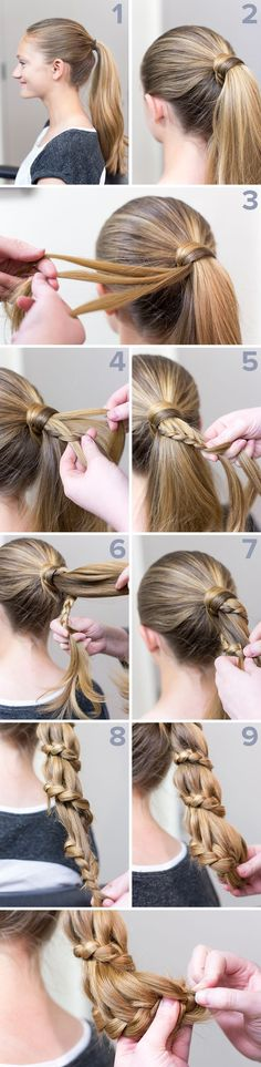 Staircase ponytail braid, tucked end, for long hair, sporty, funky