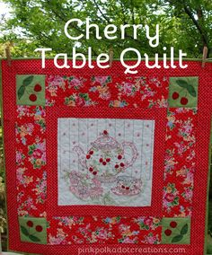 Cherry Table Quilt  |  Pink Polka Dot Creations