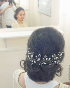 Купить Лоза воздушная цветочная - белый, лоза невесте, прическа невесте, аксессуары невесте белый, лоза невесте, прическа невесте, аксессуары невесте, аксессуары на свадьбу, прическа на свадьбу, свадебные волосы, выпускной красноярск, веточка в прическу, купить украшение, украшение москва, венок, венок невесте, лоза в прическу, свадьба 2017, тенденции в свадебной, прическе, выпускной 2017, выпускной, специальная рубрика Hairstyle, Crown, Jewelry, Fashion, Hair Job, Hair Style, Corona, Jewlery, Moda