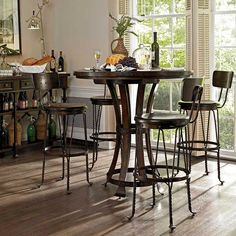 Features:  -Contemporary style.  -Distressed terrain finish.  -Curved metal feet…