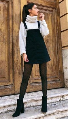 sweater with black sheer tights- winter o. - Cardigan sweater with black sheer tights- winter o. -Cardigan sweater with black sheer tights- winter o. - Cardigan sweater with black sheer tights- winter o. Winter Fashion Outfits, Holiday Fashion, Fall Winter Outfits, Look Fashion, Winter Layering Outfits, Skirt Outfits For Winter, Fashion Fall, Feminine Fashion, Casual Winter