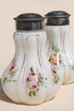 hand painted enamel antique vintage milk glass salt and pepper shakers