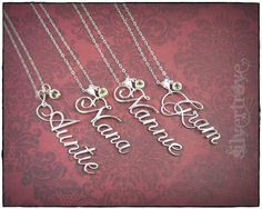 Personalized Name Pendant Sterling Silver Name Necklace With Birthstone Charm and Chain Calligraphy Script