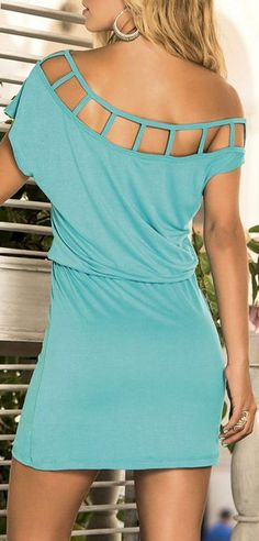 Turquoise Off-Shoulder Cutout Blouson Dress