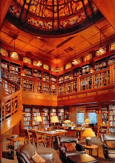 The library of George Lucas, is fully staffed and accomodates titles via Architectural Digest.I want a Library of George Lucas. Library Room, Dream Library, Future Library, Grand Library, Cozy Library, Beautiful Library, Beautiful Homes, Architectural Digest, Home Library Design