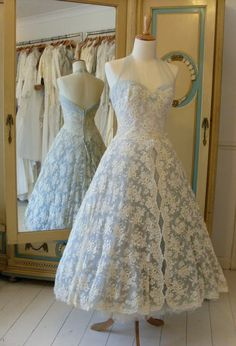 1950s halter-neck with silver blue ombre into smoke blue with cream lace overlay