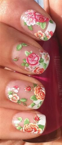 Nail Art Water Decals Transfers Stickers Floral Wild Hedge Row Roses Buds 477 | eBay    $5.28