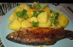 Pstruh na másle s bramborami | NejRecept.cz Steak, Salads, Cooking Recipes, Chicken, Fit, Author, Fish, Cooker Recipes, Salad