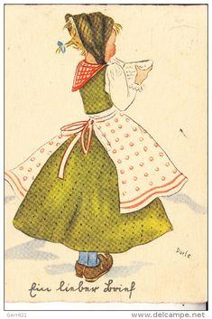 KINDER - Künstler-Karte Dorle, Ein lieber Brief, 1942