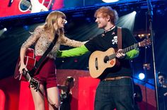 """Pin for Later: 18 Times Taylor Swift and Ed Sheeran Fully Embodied Your #FriendshipGoals When They Shared the Stage at the 2012 Z100 Jingle Ball Taylor and Ed performed """"Everything Has Changed"""" together during Z100's Jingle Ball at Madison Square Garden in December 2012."""