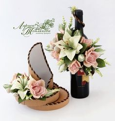 VK is the largest European social network with more than 100 million active users. Wine Bottle Gift, Wine Bottle Crafts, Paper Bouquet, Candy Bouquet, Candy Flowers, Paper Flowers, Flower Box Gift, Fleur Design, Christmas Wine Bottles