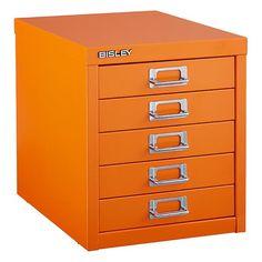 Orange Bisley  5-Drawer Cabinet