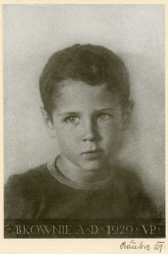 Black and white photograph of Brownie Baker as a child, 1929