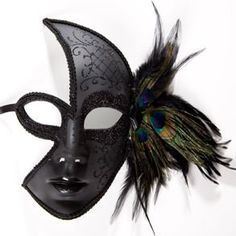 Amazon.com: Black Venetian Feather Face Mask: Toys & Games